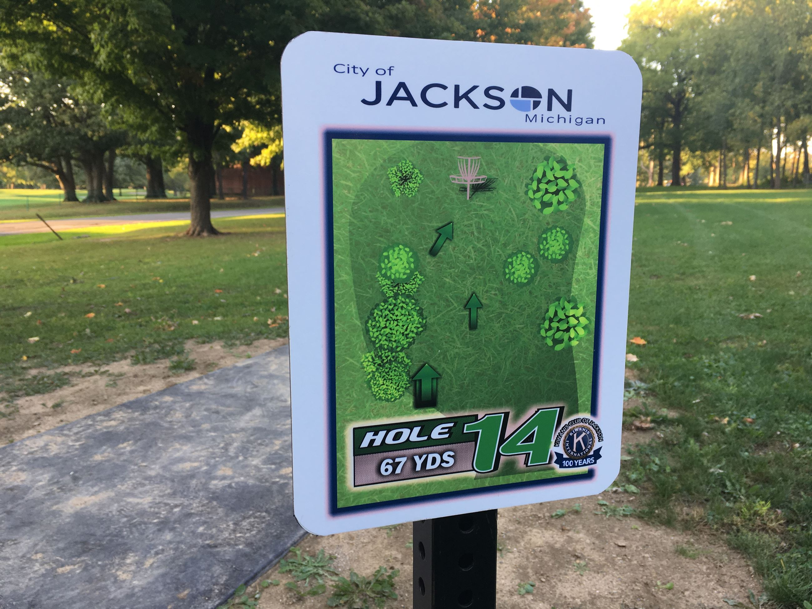 Disc golf sign