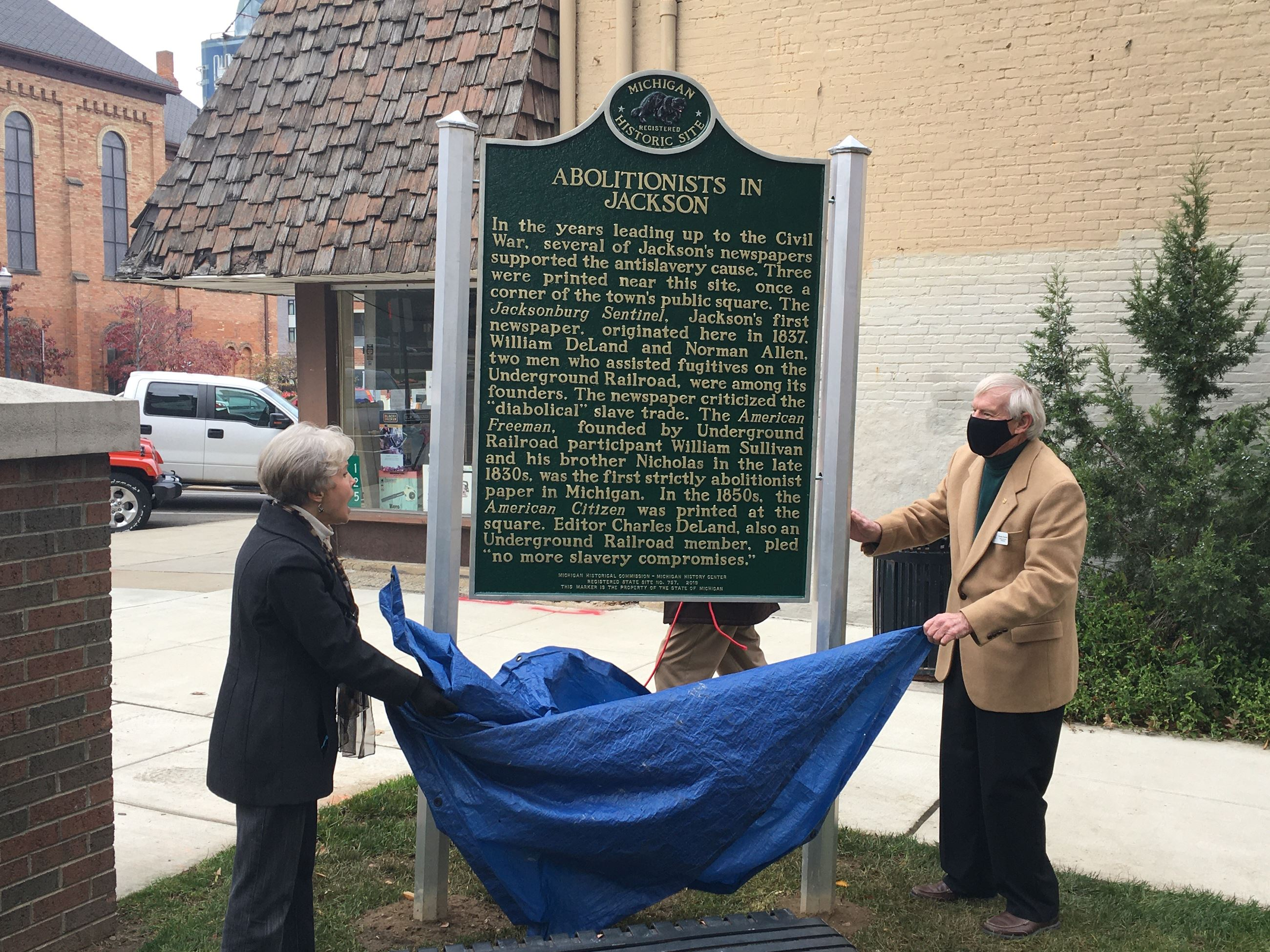 Anti-slavery historical marker in Bucky Harris Park