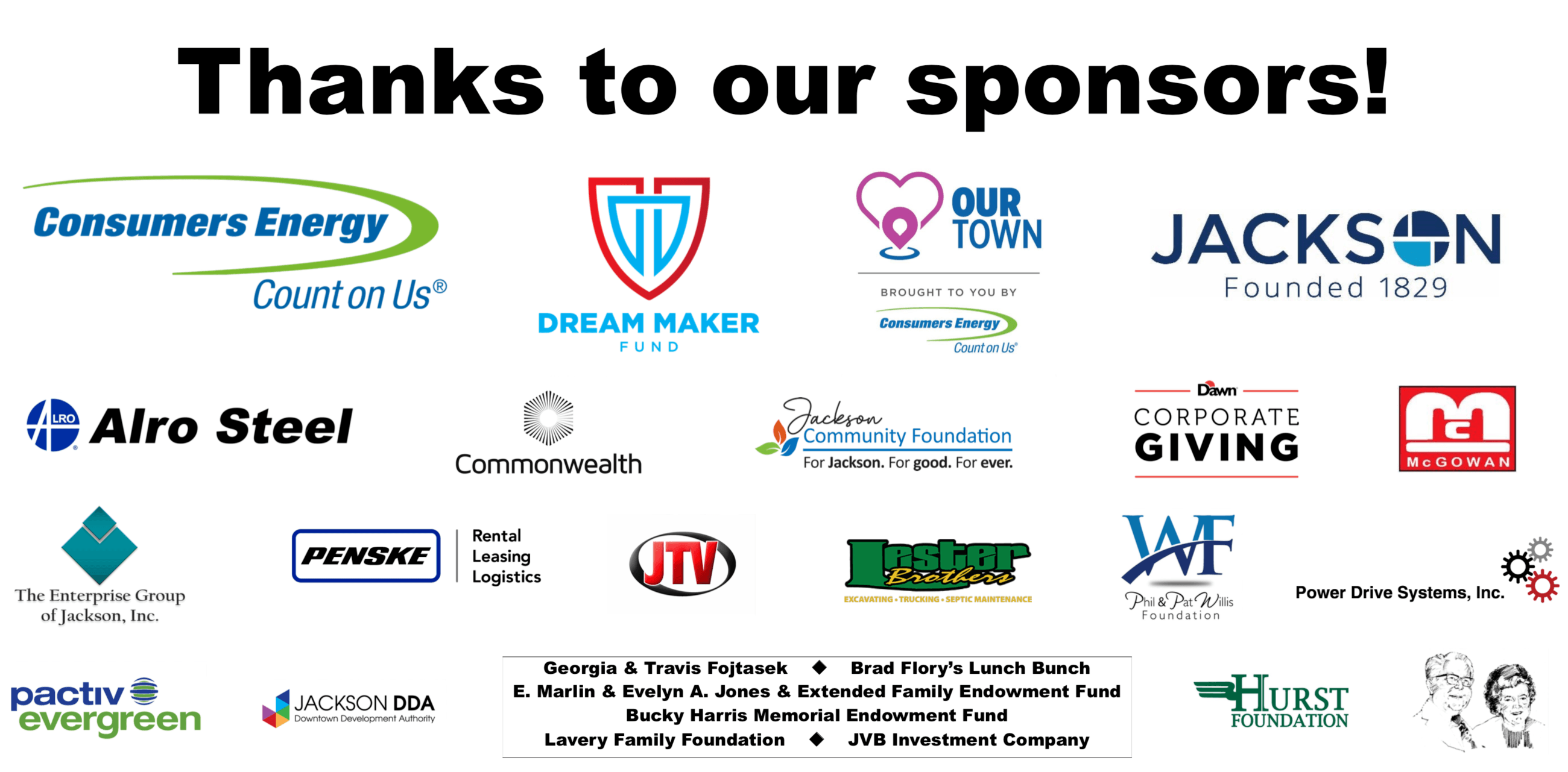 our town sponsors
