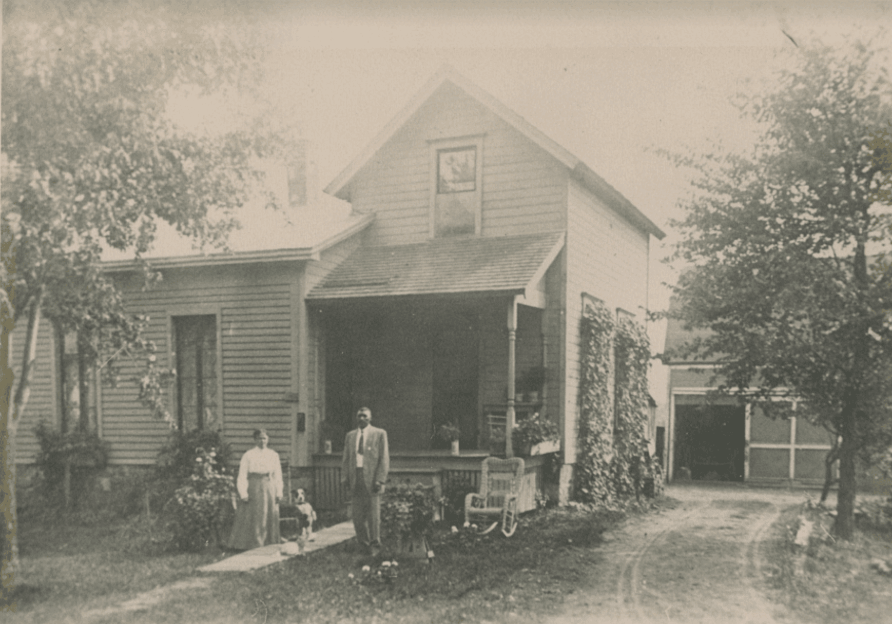 Prince family poses in front of their farm on W. Prospect Street in 1937