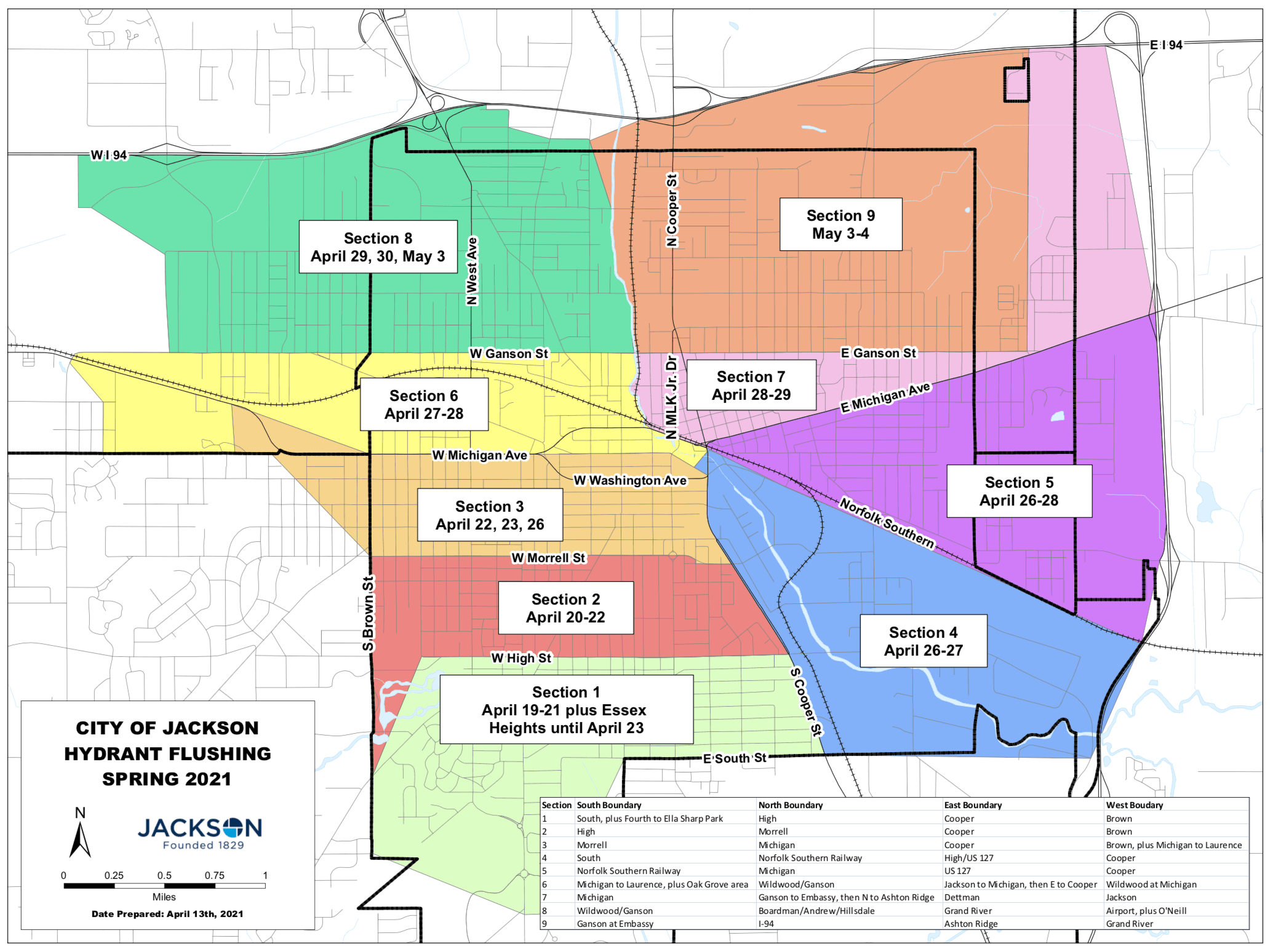 Jackson Hydrant Flushing Map